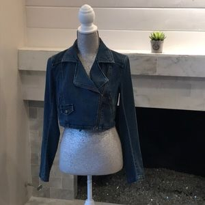 Free People Cropped Denim Moto Jacket EUC!